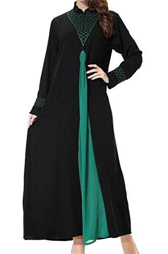 Caftano Colore Moda Di Musulmano Vestito Verde Altalena Islamico Donne Blocco Domple 6OPpUxnq