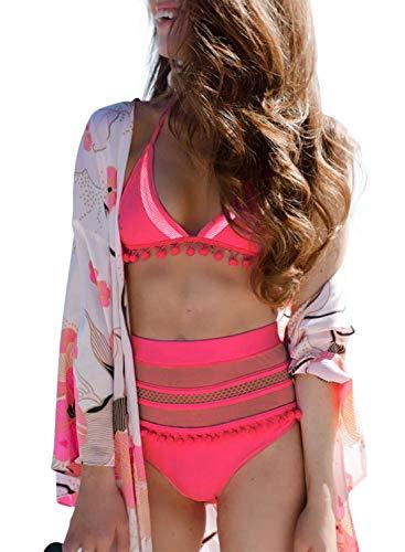 Aleumdr Womens Beach Juniors High Waist Two Pieces Brazilian Push Up Fashion Bikini Set Padded Striped Tassel Swimsuit Swimwear Bathing Suit with Bottom Pink Small 4 6