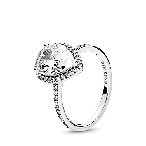 PANDORA Radiant Teardrop Ring, Sterling Silver, Clear Cubic Zirconia, Size 7.5 (Best Deals On Your Birthday)