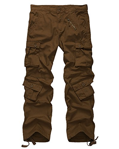Men's Cotton Casual Military Army Cargo Camo Combat Work Pants with 8 Pocket #6058,Rust Brown,US 32