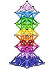 Veatree 160 st magnetiska byggpinnar leksaker, magnetiskt konstruktionsset leksaker och pedagogiskt stapelbara pusselleksaker för vuxna och småbarn