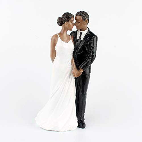 LaHomey Cake Wedding Topper, African American Wedding Anniversary Bride and Groom Resin Cake Topper Figurine (Topper American African Cake Wedding)