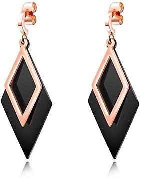 FEE-ZC Hermosos Pendientes de la Borla de Las Mujeres Personalidad Colgante Temperamento joyería Elegante Simple Diamante Doble Oro Rosa Negro Titanio Acero Pendientes geometría