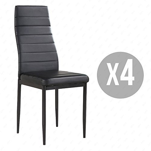 4 Family Set Of 4 Stunning Black Dining Chairs Comfortable