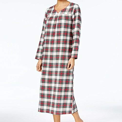 Charter Club Womens Flannel Lace-Trim Nightgown,Stewart Plaid, Medium - Lace Trim Flannel Nightgown