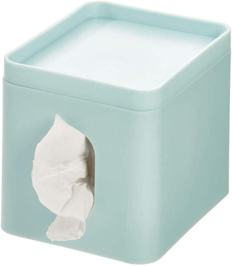 iDesign Caja para pañuelos, pequeña caja de almacenamiento en plástico para toallitas cosméticas, funda para caja de pañuelos con bandeja para joyas o maquillaje, azul claro: Amazon.es: Hogar