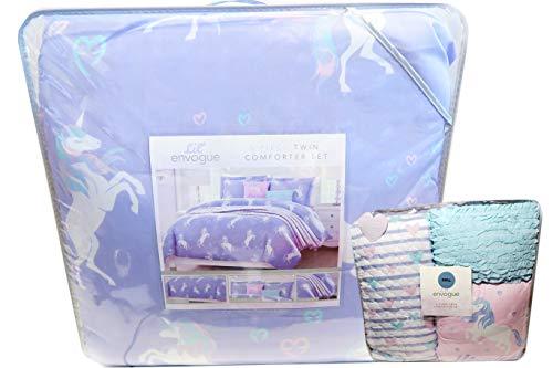 Lil Envogue Girls Designer Multi Piece Deluxe Purple Pastel Decorative Unicorn Comforter Bedding Set with Pillows (Twin) Deluxe Twin Bedding Set