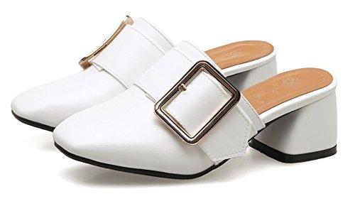 Aisun Womens Comfort Casual Fibbia Cinturino Chiuso Punta Squadrata Scivolo Su Scarpe Con Tacco Medio Blocco Scarpe Bianche