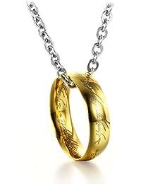 Señor de los anillos colgante de titanio con cadena de acero inoxidable collar de los amantes