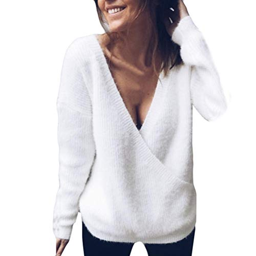 (Realdo Womens Sweater Women Solid V-Neck Long Sleeve Knitted Pullover Loose Jumper Tops Knitwear(Large,White))