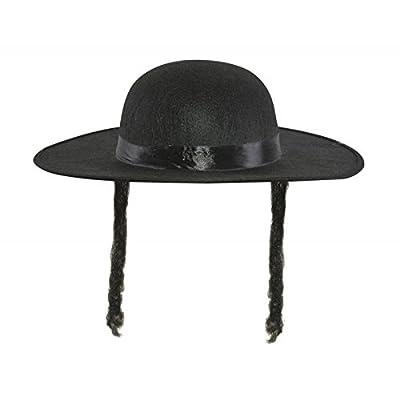 Chapeau imitation lainage Rabbi Jacob noir avec cheveux