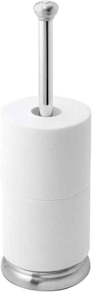Cl/ásico soporte para papel higi/énico para ba/ños Dispensador de papel higi/énico para 3 rollos de papel de reserva mDesign Portarrollos de pie gris