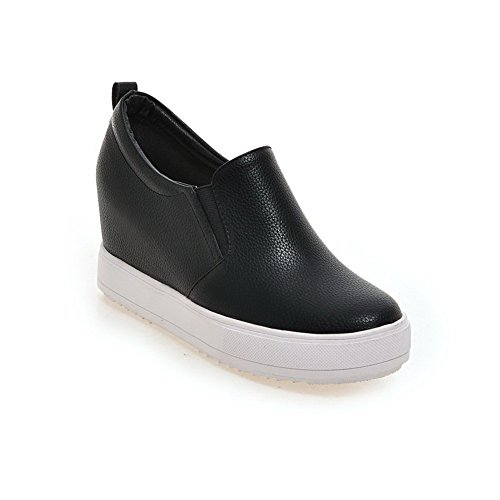 BalaMasa Ladies Elastic Imitated Leather Pumps-Shoes Black ONwXD