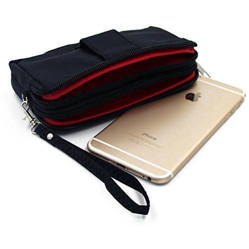 Belt Pack pour Apple iPhone 7, noir. Sac de Voyage, couverture protection body bag Étui housse ceinture. | Poche Outdoor Case camping - K-S-Trade (TM)