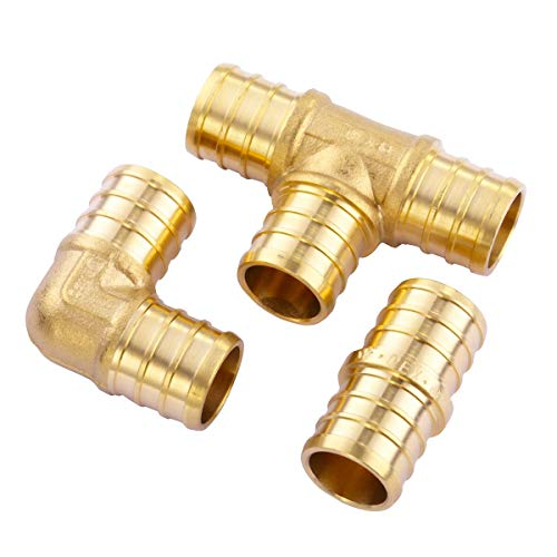 """Litorange 3/4 inch T PEX Tee & 90 Degree Elbow & Straight Coupling 3/4"""" (pack of 9) Lead Free Brass Barb Crimp Pipe Fitting/Fittings"""
