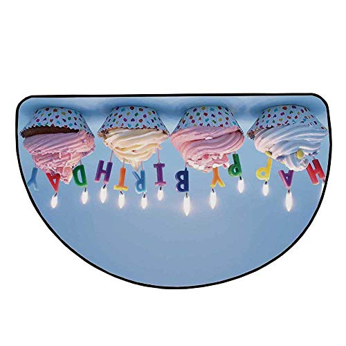 Birthday Decorations Comfortable Semicircle Mat,Delicious Creamy Cupcakes with