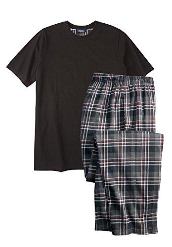 - KingSize Men's Big & Tall Jersey Knit Plaid Pajama Set, Black Plaid Big-3Xl