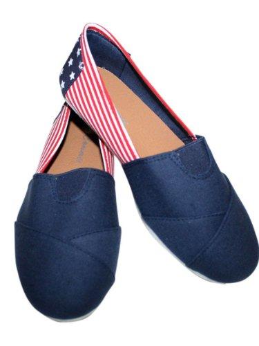 Women Canvas Slip-on Flats USA Flag Nice and Comfortable - Usa Flat