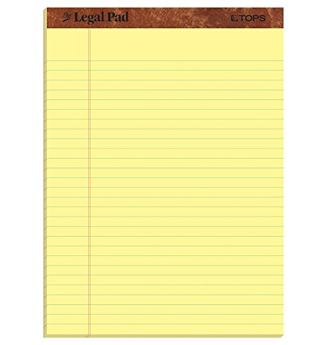 TOPS The Legal Pad Writing Pads, 8-1/2 x 11-3/4, Canary Paper, Legal Rule, 50 Sheets, 3 Pack (75327) by Tops
