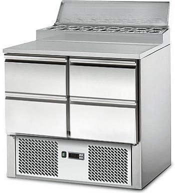 Saladette/Zubereitungstisch - 0,9 x 0,7 m - mit 4 Schubladen