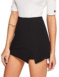 WDIRARA - Falda asimétrica para Mujer con Ribete de Contraste, Cintura Media y Nudo Lateral, Negro 2, XS