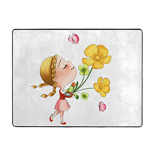 Jinsshop Super Soft Rugs for Children Play, Solid Home Decorator Floor Rug and Carpets 63 X 48 Inch -Cute Girl with Flower Spring