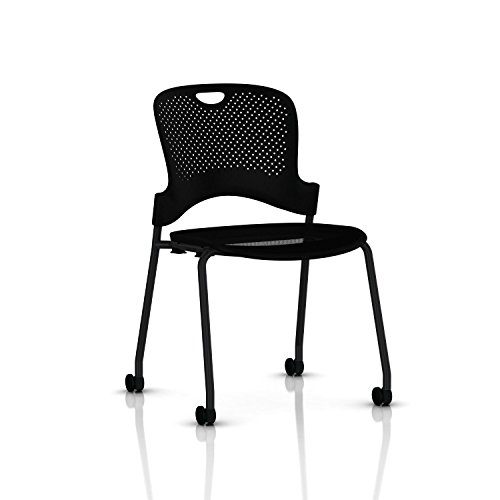 [Stackable Caper Side Chair by Herman Miller - Black, Black FlexNet Seat, Carpet Casters] (Herman Miller Mesh Chair)