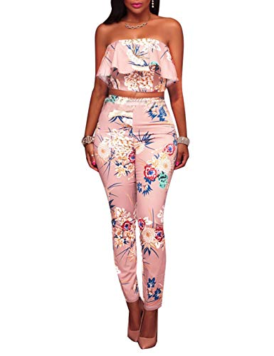 Women's Floral Print Sleeveless Strapless Top Casual Bodycon Stretch High Waist Long Pants 2 Pieces Jumpsuit (Best Jumpsuits Summer 2019)