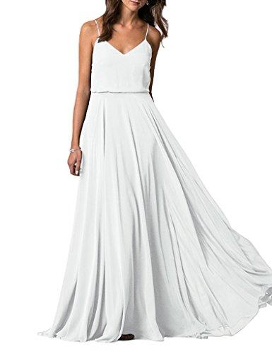 Lafee Bridal V-Neck Spaghetti Straps Long Chiffon Beach Wedding Bridesmaid Dress White Size 8