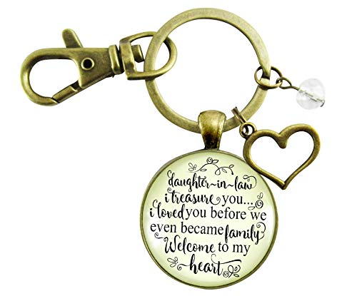 Daughter In Law Keychain I Treasure You Loved Before We Were Family Welcome To Heart Meaningful Pendant Jewelry