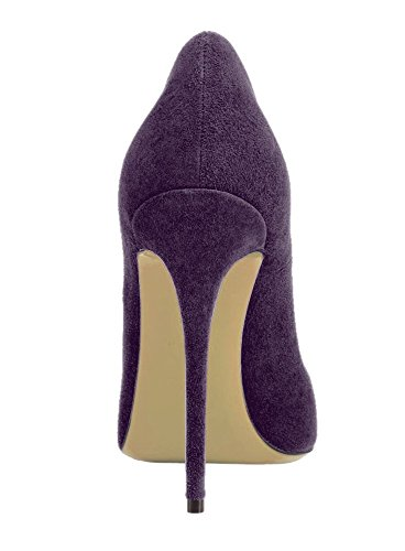 Heels Purple Size Court Women's Stiletto Shoes Office Deep Plus Pumps SexyPrey Formal Pointy Work for Toe pZFqIZHy