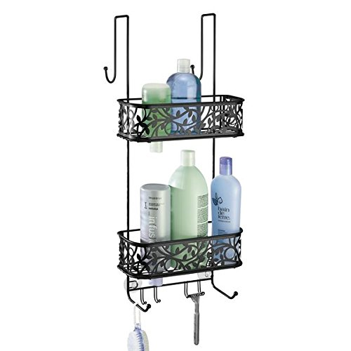 mDesign Metal Over Door Bathroom Tub & Shower Caddy, Hanging Storage Organizer Center - Holds Shampoo, Conditioner, Body Wash, Razor, Dry Towel - 2 Baskets, 8 Hooks, Floral Design - Matte Black ()