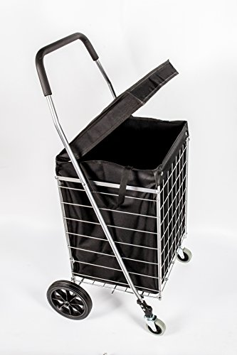 PrimeTrendz PT5614 Grocery Laundry Utility Shopping Cart With Water Proof Black Liner Cover | Heavy Duty, Light Weight Trolley with Rolling Swivel Wheels | Portable and Easily Collapsible, Silver (Go We Rolling Cart)