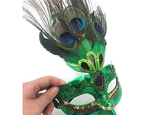 Yyanliii Divertente Maschera Di Piume Artificiali Maschera Mascherata Veneziana Per La Festa Di Carnevale Di Halloween Prom (Verde)