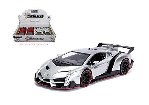 Jada 99997-DP1 New Diecast Toys Car 1: 24 Display - Metals - Hyper-Spec - Lamborghini Veneno (Red, Silver) 1 Item Random Color Without Retail Box, Multicolor (Lamborghini Veneno Model)
