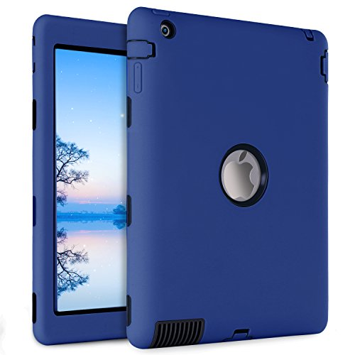 iPad 2 Case,iPad 3 Case,iPad 4 Case,BENTOBEN Heavy Duty Rugged Shock-Absorption / High Impact Resistant Hybrid Three Layer Armor Full Body Protective Case Cover for iPad 2/3/4 Retina (Navy Blue&Black) by BENTOBEN