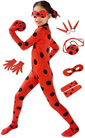 DAZCOS Child Size Red Lady Bug Costume Ladybug Cosplay Jumpsuit with Headwears