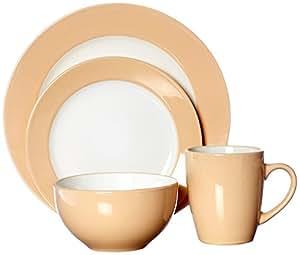 Uniware D350-16A 16 Piece Dinner Set (4 Big Plates/4 Small Plates/4 Cups/4 Bowls), Cream, 14 x 10 x 9