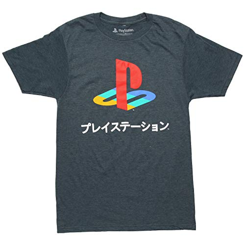 Playstation Logo Japanese Kanji Adult T-Shirt - Heather Navy (XXX-Large) (Kanji Adult T-shirt)