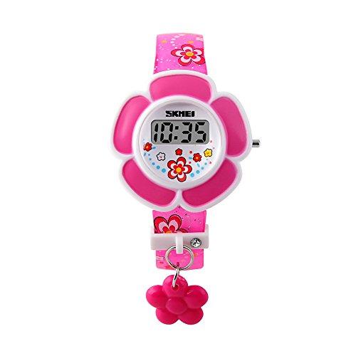 Girls Digital Watch Flower Patern Canlender Date LED Digital ()