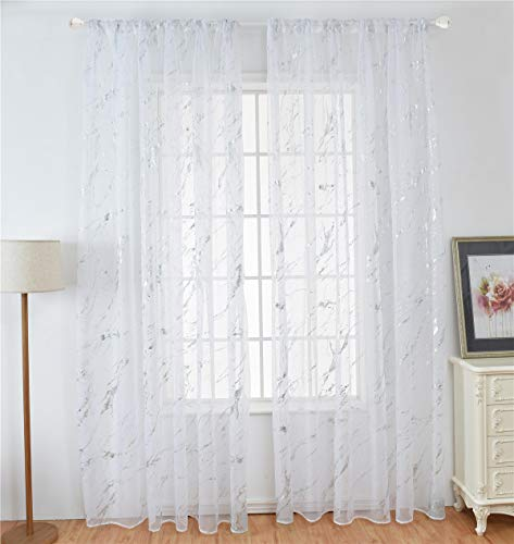 WUBODTI 2 Piece of Silver and White Voile Tulle Room Door Window Curtain Sheer Voile Drapes Modern Textured Printed Window Treatments Panel for Bedroom Living Room,39