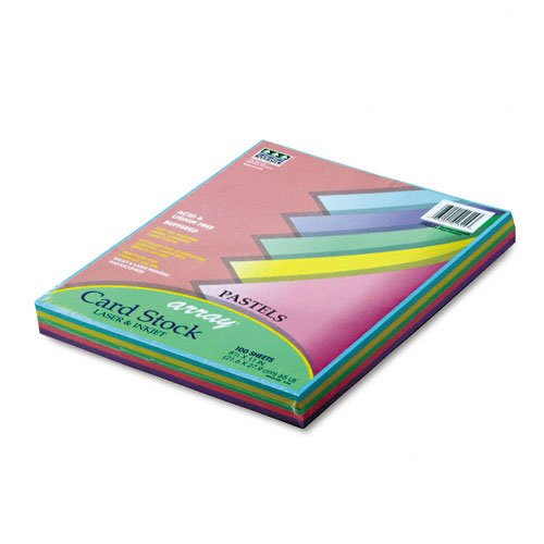 Pacon : Array Card Stock, 65lb, Assorted Pastel Colors, Letter, 100 Sheets per Pack -:- Sold as 2 Packs of - 100 - / - Total of 200 - Cardstock Array Pacon