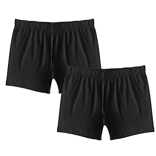 Popular Girl's Premium Playground Shorts - 2 Pack - Black - L (10/12)