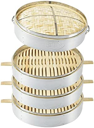 41ywHu%2BjrjS. AC DFBGL Bamboo Steamer, Chinese Food Steamer Basket, Bao Buns, Dumplings and Vegetables Steam Basket, Cooking Food Cooker, 2 Tier & Lid    Bamboo steamer is the perfect size for home use because it fits most woks and pans. Steaming food is one of the healthiest ways of cooking. Steaming is gentle and seals in the foods flavour and nutrients. It is ideal for cooking food which has delicate taste and texture such as fish and vegetables.Specifications:Type: Bamboo SteamerMaterial: bamboo+stainless steelOutside diameter of the steamer: 52cm;Outside height of single cage: 10cmBe applicable: Easily Steam Dim Sum, Vegetables, Rice, and MeatsPackage Included:3* steamer & 1*lid?~? TipsBamboo products should be dried in time after washing, because the environment is humid, which is not a product quality problem!Due to the difference in light, shooting angle and resolution, the photos you see are slightly different from the actual objects, please understand.Our products are measured manually, there will be slight differences from the actual items, please understand.Bamboo steamers are not made to be placed in an oven or a microwave. And not suitable for dishwasher.After use: After steaming, the grease must be cleaned. If you don't use it frequently or for a long time, you can clean it and blanch the steamer with boiling water, and dry it in the vent (it can be left for a few more days until it is dry in humid weather) .Multi-layer design - The bamboo steamer with 3-layer steamer can steam different kinds of food at the same time, which can save a lot of time and play a bigger role in the kitchen to make your meal more abundant.Healthy cooking - steaming allows your food to retain more of their nutrients making them taste better and better for you. Also helps you to avoid the fats found olive, vegetable or canola oils.Safe material-The steamer is made of bamboo material, stainless steel edging, environmentally friendly, durable, non-toxic, good heat resistance, 