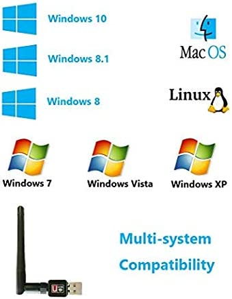 Wireless 150Mbps USB 2.4GHz Dongle 802.11n Plug and Play USB WiFi Adapter for Windows 10//8.1//8//7//XP//Vista//Linux//Mac//OS X 10.6-10.13//Raspberry Pi//Pi 2 Storite WiFi Dongle with Antenna