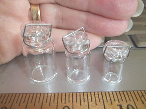 CLEAR CANNING JARS WITH COVERS - GLASS - DOLL HOUSE MINIATURE