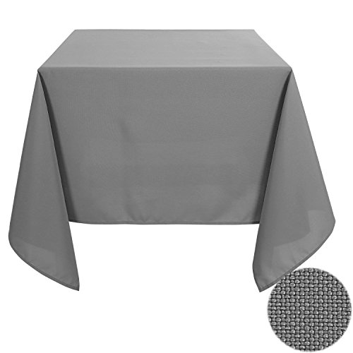 Deconovo Solid Oxford Square Stain Resistant Tablecloth For Dining Room 70 by 70 Inch Gray