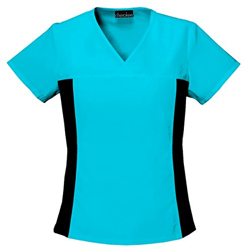 (Cherokee Women's Contemporary V-Neck Knit Panel Top_Turquoise_Small,2874)