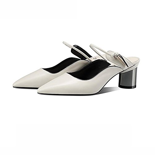 Primavera Y Mujer Sandalias Zapatos De DALL 753 Verano 38 Apuntado Zapatos Color Cm De Ly UK5 Áspero Cabeza Color Puro EU 6 de tacón 5 CN38 Tamaño Alto Talón Tacones Blanco Blanco TwqzOxaq