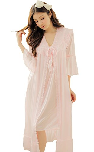 Camellia12 Fantastic Satin Robe Set Lace Chemise Full Slips with Victorian Robe (Pink Nightgown Silk)